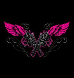 guns and wings vector image