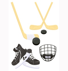Hockey objects vector image vector image