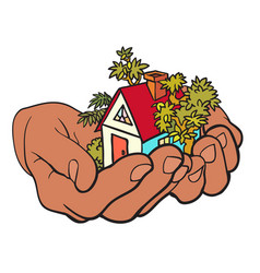 House in hands real estate offer vector