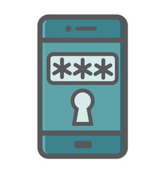 Mobile security colorful line icon smartphone vector