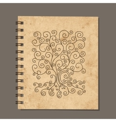 Notebook design art tree Old grunge paper vector image