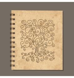 Notebook design art tree old grunge paper vector