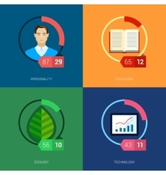 Online education mooc and courses flat icons vector