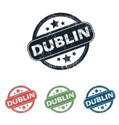 Round dublin city stamp set vector