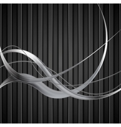 Silver metal waves on black striped background vector