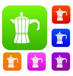 Steel retro coffee pot set collection vector