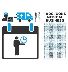 Time manager calendar day icon with 1000 medical vector