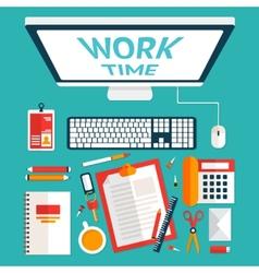 Top view office desk vector