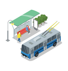 Trolleybus stop isometric 3d icon vector