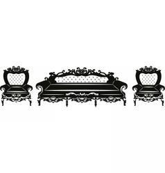 Vintage baroque sofa and armchair set vector