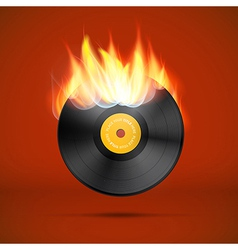 Vinyl Record Disc in Flames vector image vector image