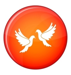 Wedding doves icon flat style vector