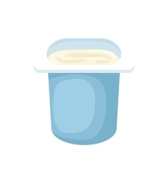 Yogurt in blue plastic cup icon cartoon style vector image