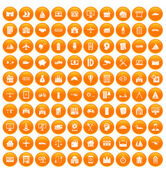 100 private property icons set orange vector
