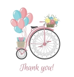 Retro bicycle style with flowers and balloons vector