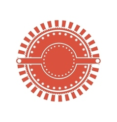 Red circular art deco emblem vector