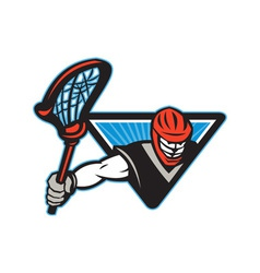 Lacrosse player crosse stick vector