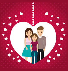 Lovely family poster heart together vector