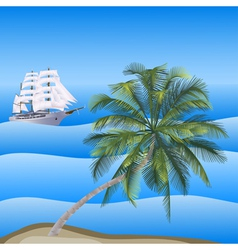 A sea landscape with a palm vector