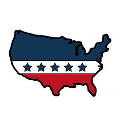united states of maerica map with flag vector image