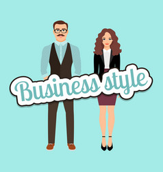 Fashion couple in business style clothing vector
