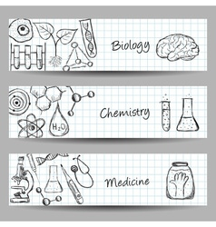 Set of science banners vector