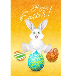 Easter holiday card with eggs and rabbit vector