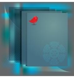Card border with snowflake bird vector image