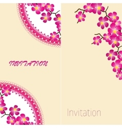 Two invitation vintage card with beautiful sacura vector image