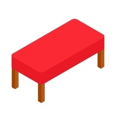 Red bench icon isometric 3d style vector