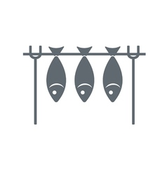 Fresh fish on a skewer icon vector