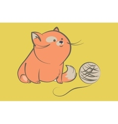 Fat red cat with ball of yarn vector