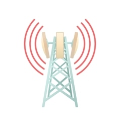 Tower with telecommunications equipment icon vector