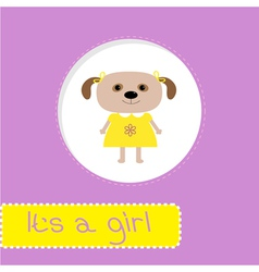 Baby shower card with dog its a girl vector