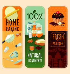 Baking ingredients vertical banners vector