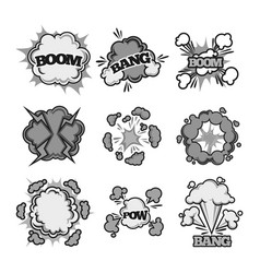Boom bang pow comic bubble sound clouds vector