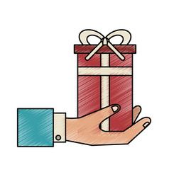 Business hand gift box vector
