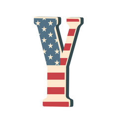 capital 3d letter y with american flag texture vector image vector image