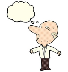 cartoon confused middle aged man with thought vector image vector image