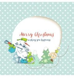 Christmas card funny snowman delivering gifts and vector image vector image