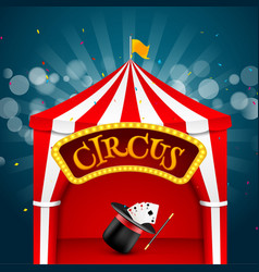 Circus tent poster circus retro sign invitation vector
