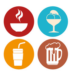 Colorful food icons vector