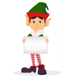 elf holding blank placard vector image vector image