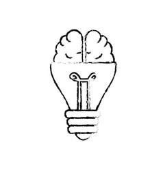 Figure bulb with brain to creative idea vector