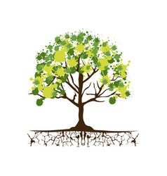 Green trees with some leaves icon vector