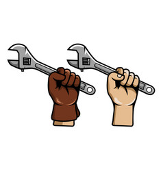 hand grab adjustable wrench vector image