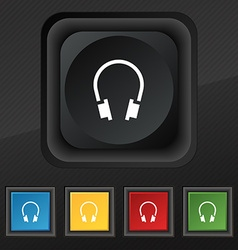 headsets icon symbol Set of five colorful stylish vector image