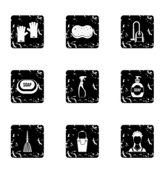 House cleaning icons set grunge style vector