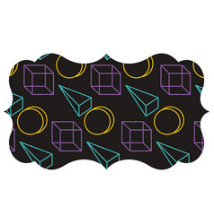 label with memphis pattern geometric texture vector image