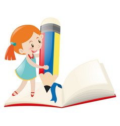 little girl writing on notebook vector image